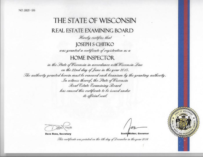 Certified Wisconsin Home Inspector